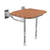 Milton Wood Effect Folding Shower Seat with Legs profile small image view 1