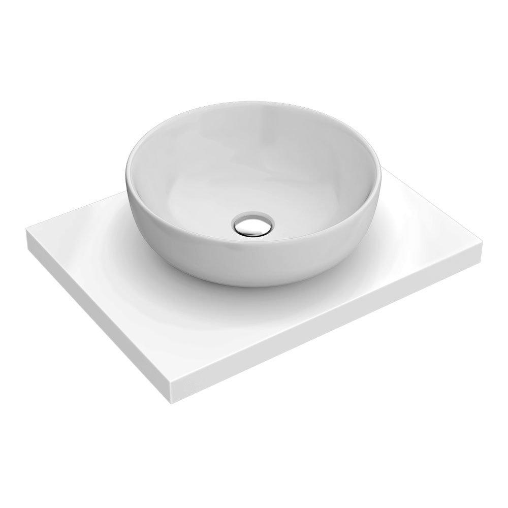 600 x 450mm White Shelf with Sol Round Basin