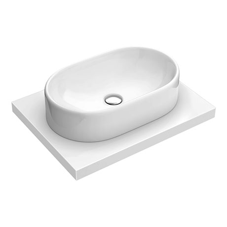 600 x 450mm White Shelf with Nouvelle Semi-Oval Basin