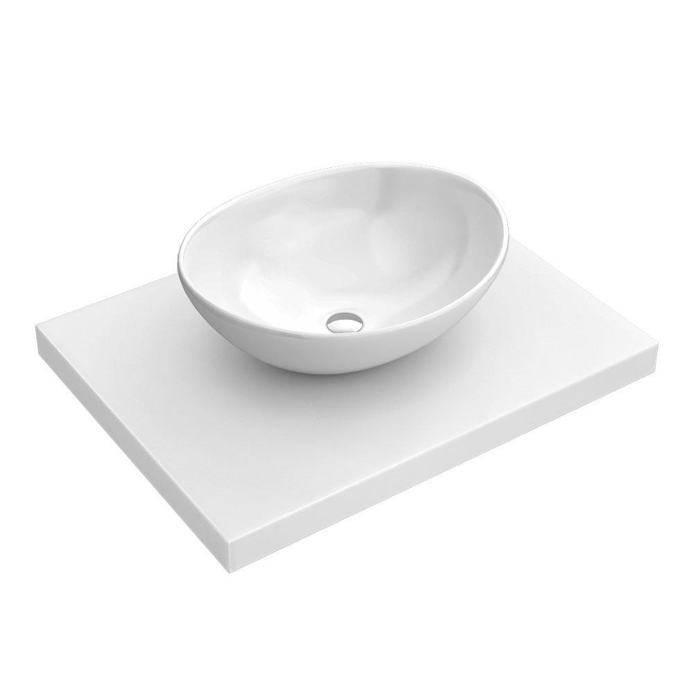600 x 450mm White Shelf with Casca Basin