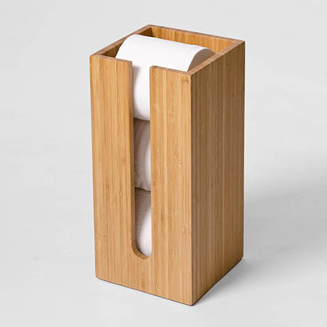 Wooden Spare Toilet Roll Storage Box Bamboo