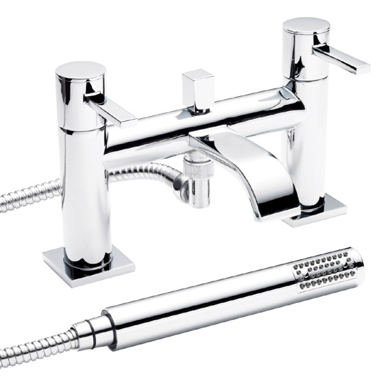 Ultra Series W Bath Shower Mixer + Shower Kit - Chrome - WTY304 Large Image