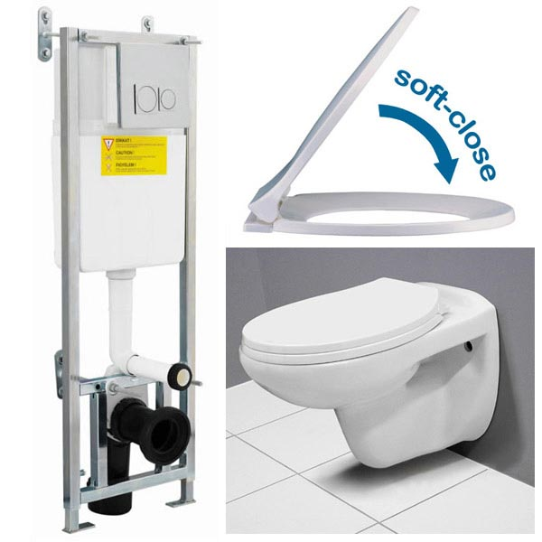 Wall Hung Toilet with Dual Flush Concealed WC Cistern & Wall Hung Frame profile large image view 4