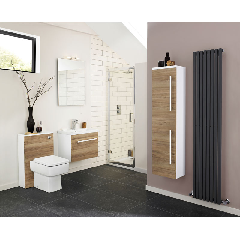Ultra Design 800mm 1 Drawer Wall Mounted Basin & Cabinet - Natural Walnut - 2 Basin Options profile large image view 4