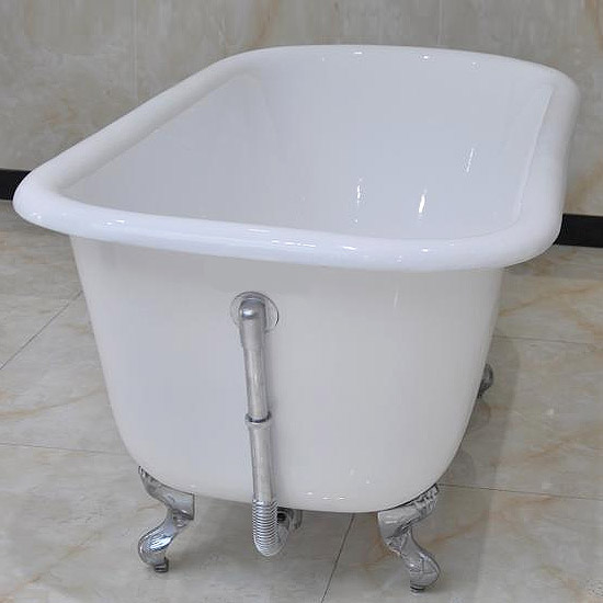 Wandsworth 1680 x 770mm Single Ended Roll Top Cast Iron Bath with Chrome Feet Profile Large Image