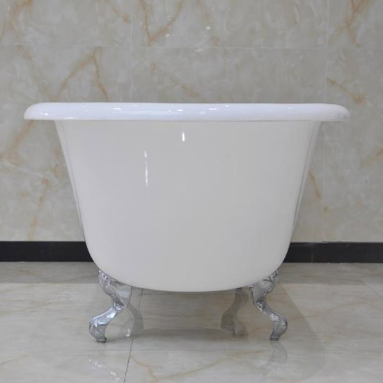 Wandsworth 1680 x 770mm Single Ended Roll Top Cast Iron Bath with Chrome Feet Standard Large Image