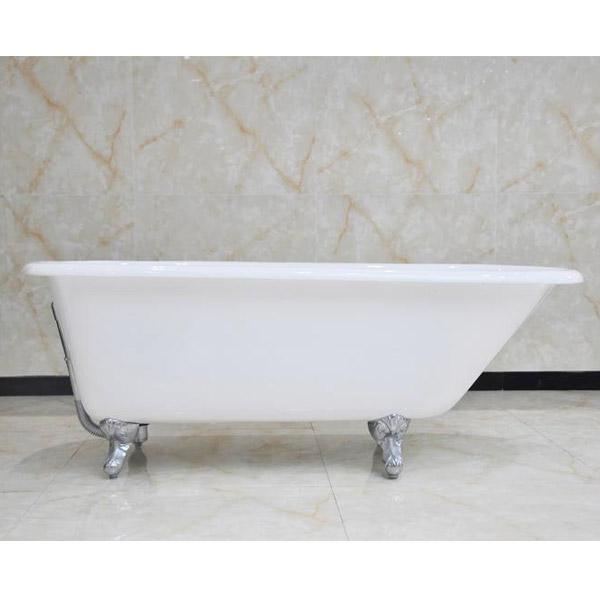 Wandsworth 1680 x 770mm Single Ended Roll Top Cast Iron Bath with Chrome Feet Large Image
