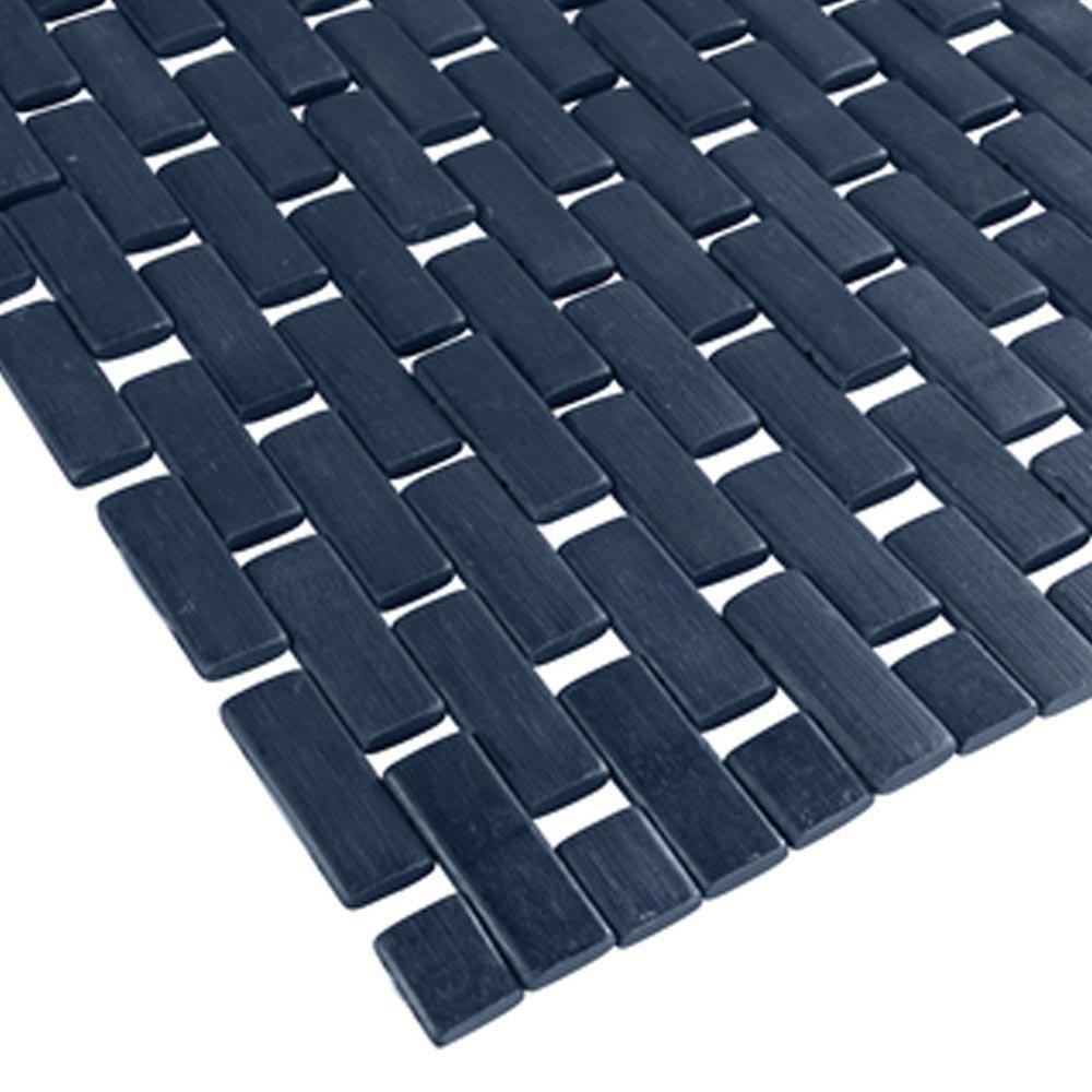 Wenko Bamboo 50 x 80cm Bath Mat - Dark Blue - 22108100 profile large image view 2
