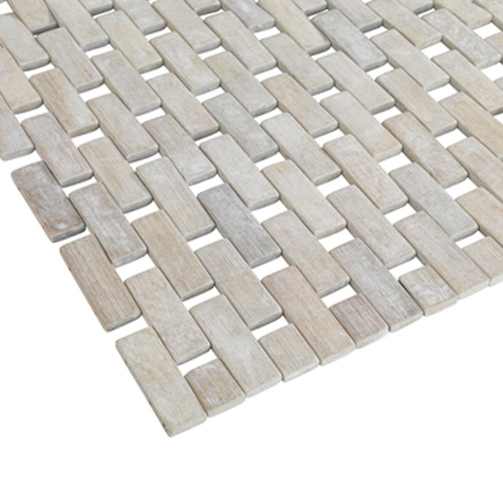 Wenko Bamboo 50 x 80cm Bath Mat - White - 22106100 profile large image view 2