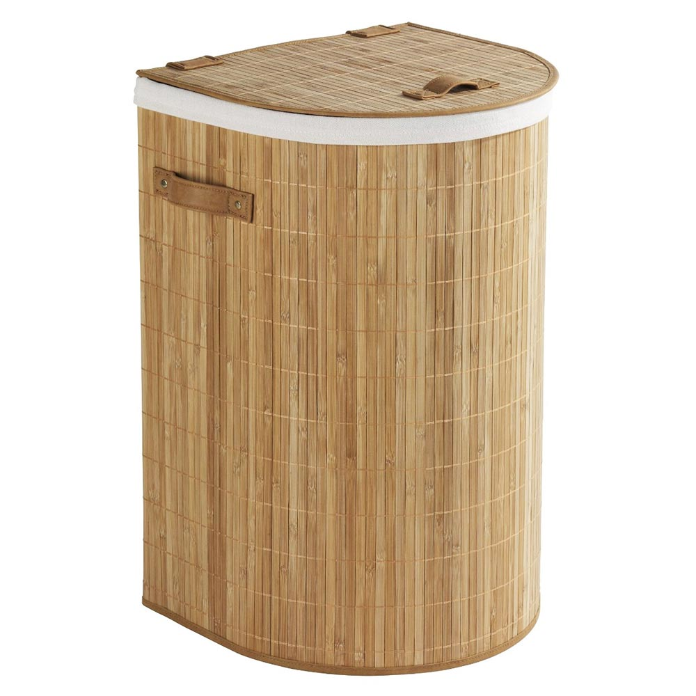 Wenko Bamboo Back To Wall Laundry Bin - 62015100 Profile Large Image