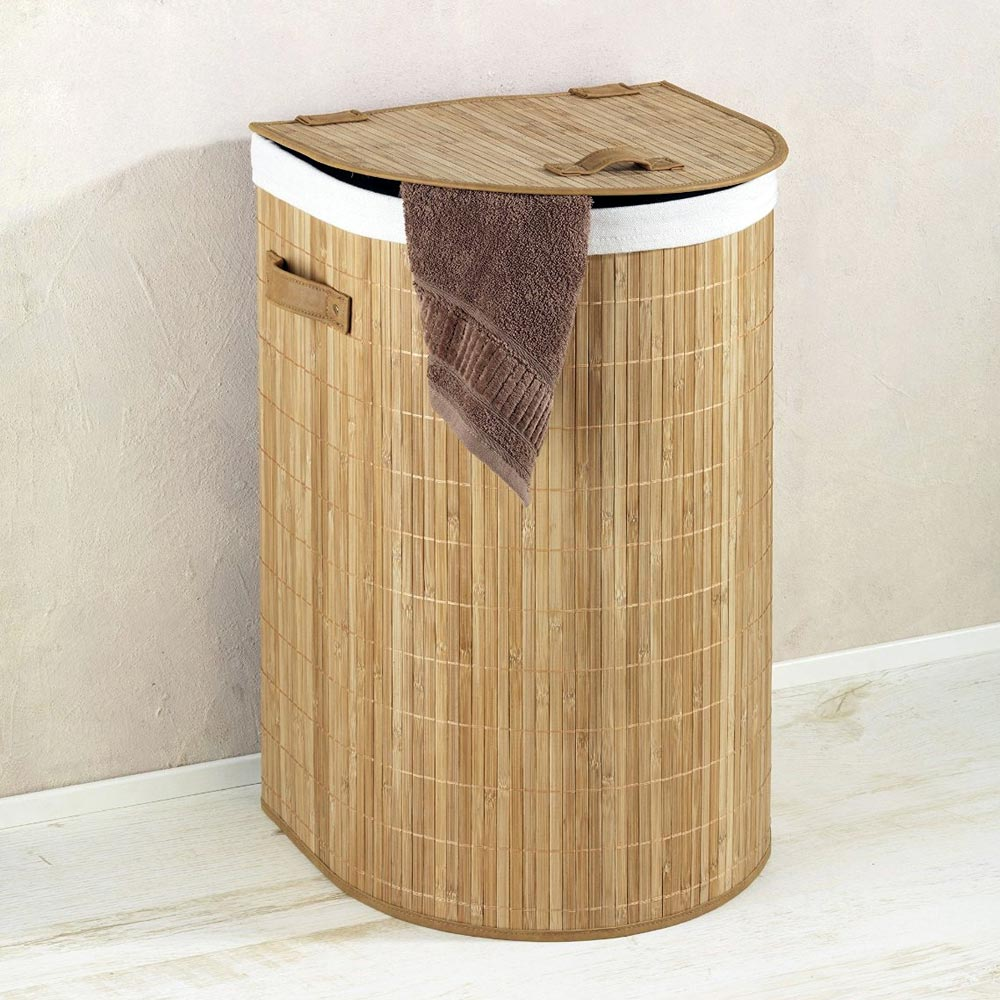 Wenko Bamboo Back To Wall Laundry Bin - 62015100 Large Image