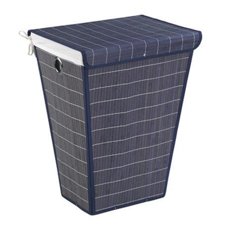 Wenko Bamboo Laundry Bin - Dark Blue - 22102100