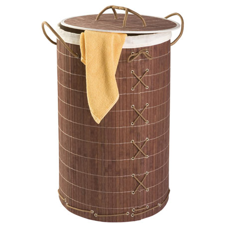 Wenko Bamboo Laundry Bin - Dark Brown - 17771100