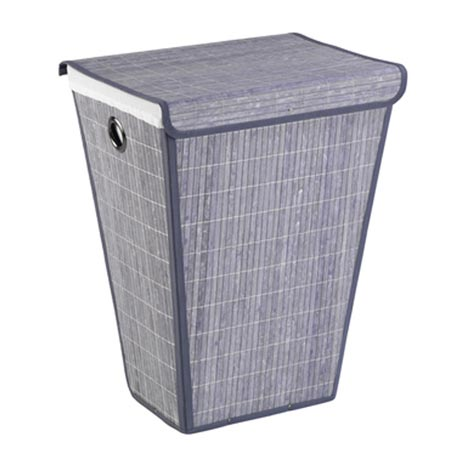 Wenko Bamboo Laundry Bin - Grey - 22101100