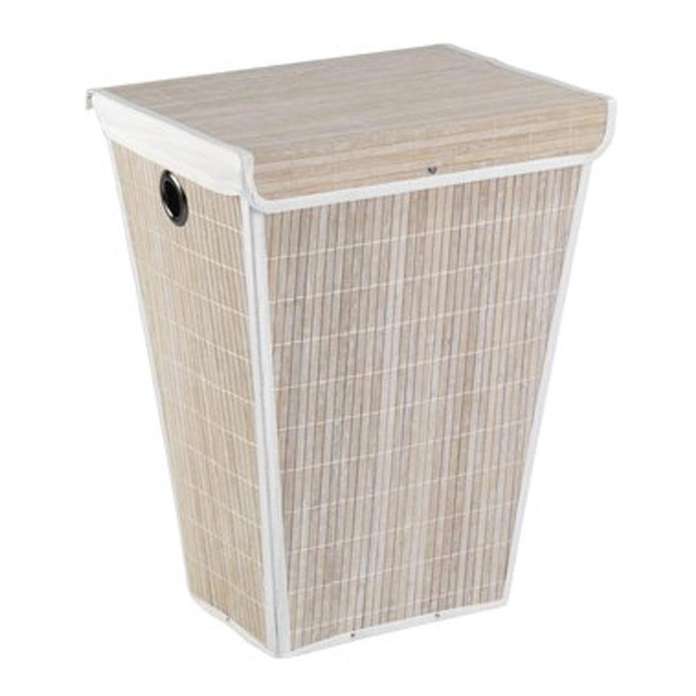 Wenko Bamboo Laundry Bin - White - 22100100 Large Image