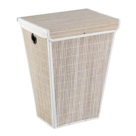 Wenko Bamboo Laundry Bin - White - 22100100