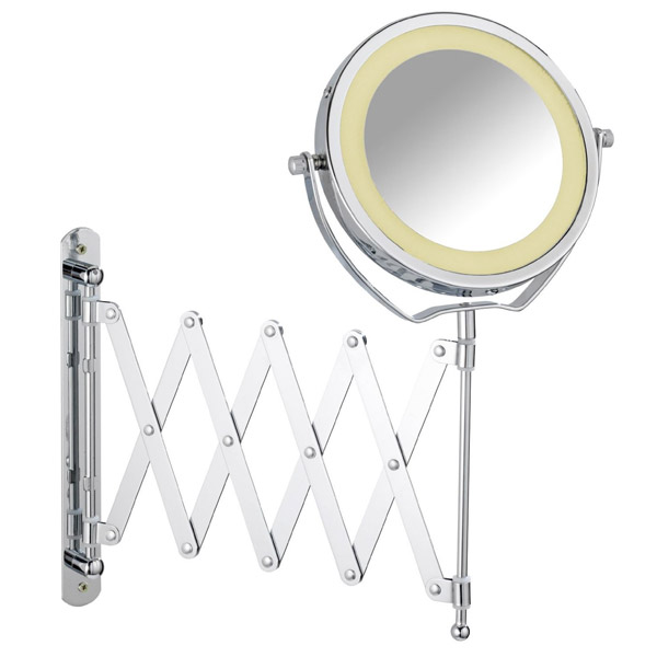 Wenko - Brolo LED Telescopic Wall Mirror - 3x magnification - Chrome - 3656380100 Large Image