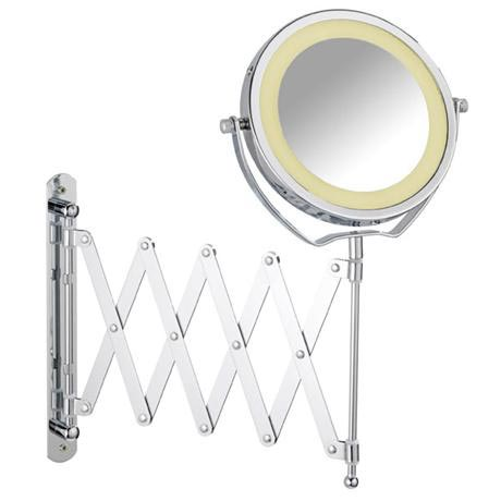 Wenko - Brolo LED Telescopic Wall Mirror - 3x magnification - Chrome - 3656380100