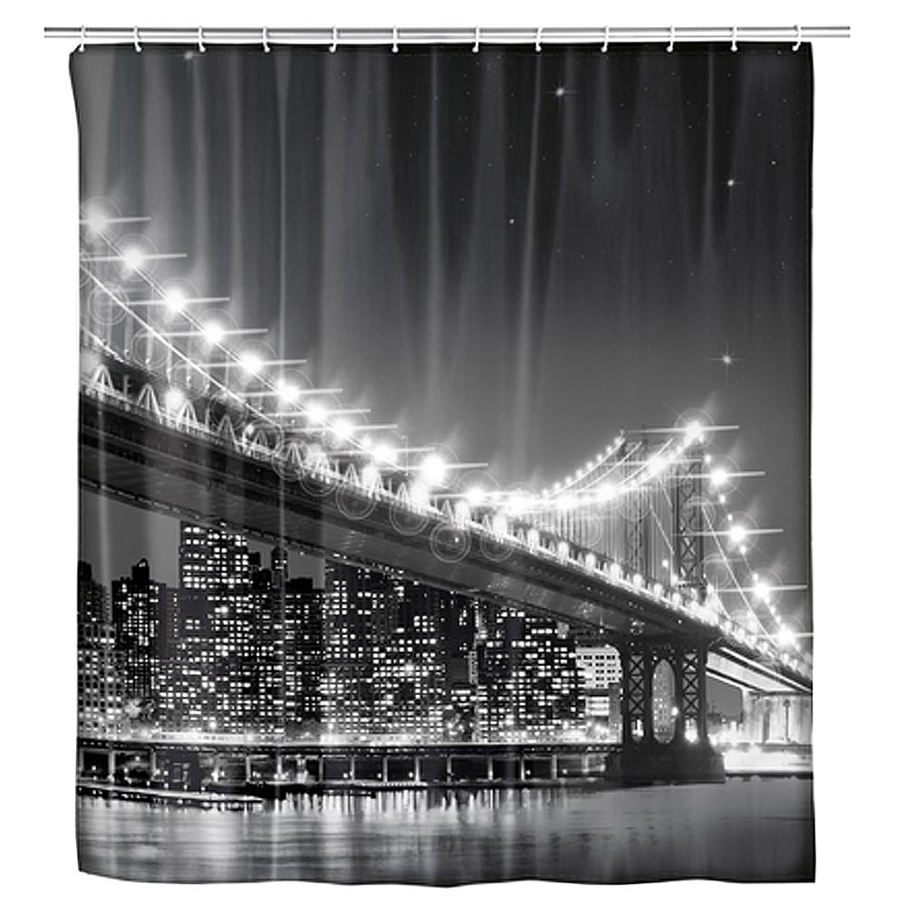 Wenko Brooklyn Bridge LED Polyester Shower Curtain - W1800 x H2000mm Large Image