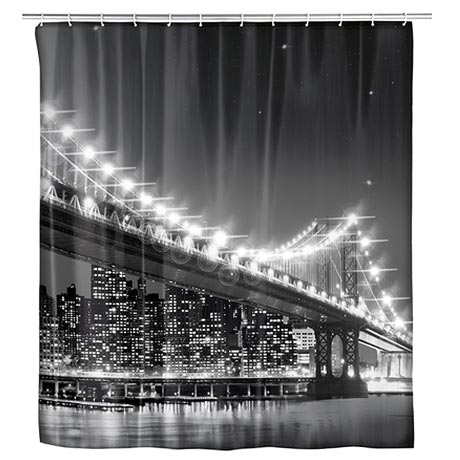Wenko Brooklyn Bridge LED Polyester Shower Curtain - W1800 x H2000mm