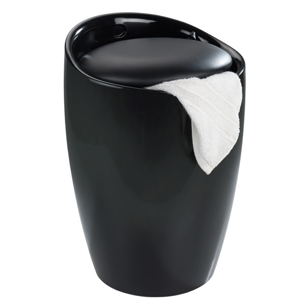 Wenko - Candy Laundry Bin & Bath Stool - Black - 20630100 profile large image view 2