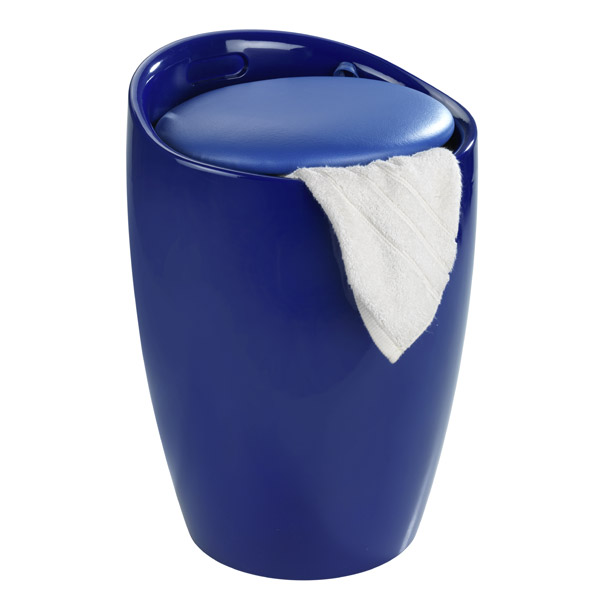 Wenko - Candy Laundry Bin & Bath Stool - Blue - 20628100 profile large image view 2