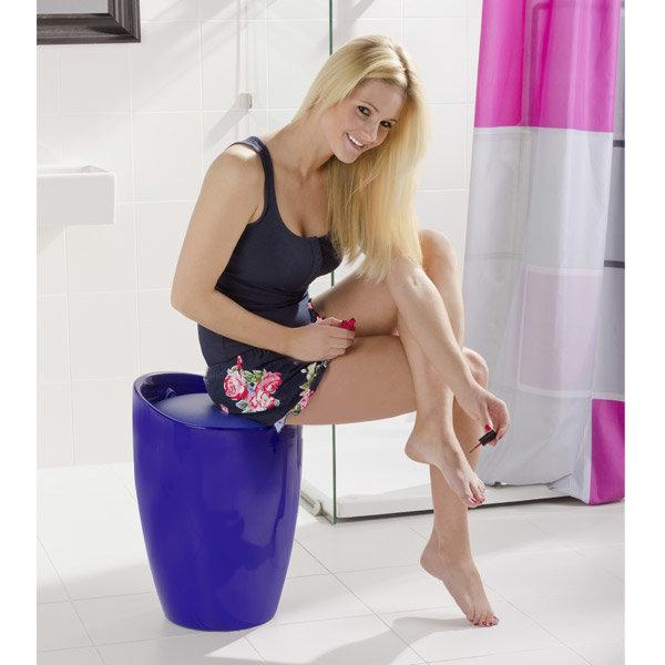 Wenko - Candy Laundry Bin & Bath Stool - Blue - 20628100 Standard Large Image