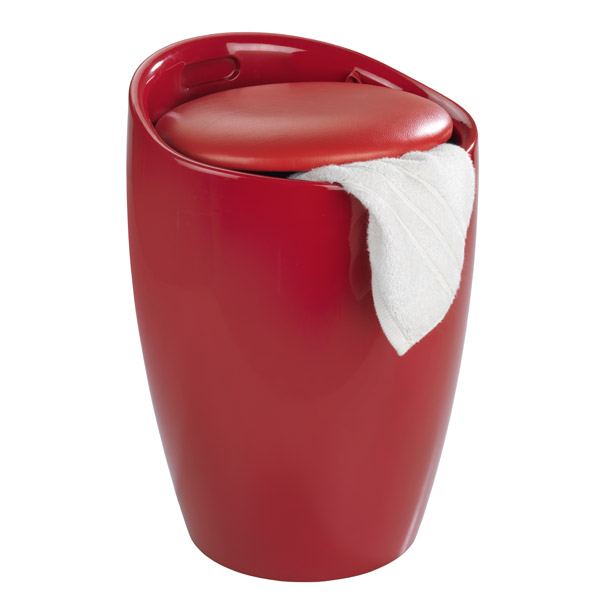 Wenko - Candy Laundry Bin & Bath Stool - Red - 20624100 Profile Large Image