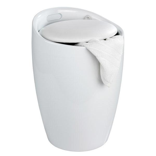 Wenko - Candy Laundry Bin & Bath Stool - White - 20631100 Profile Large Image