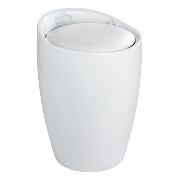 Wenko - Candy Laundry Bin & Bath Stool - White - 20631100 Large Image