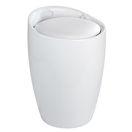 Wenko - Candy Laundry Bin & Bath Stool - White - 20631100