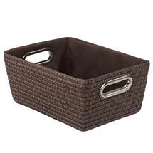 Wenko - Chromo Rectangular Bathroom Storage Basket - Brown - 20373100 Medium Image