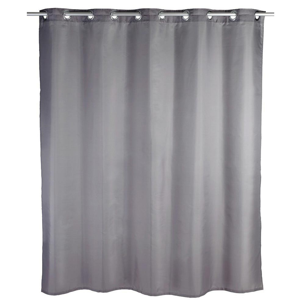 Wenko Comfort Flex Grey Polyester Shower Curtain - W1800 x H2000mm Large Image