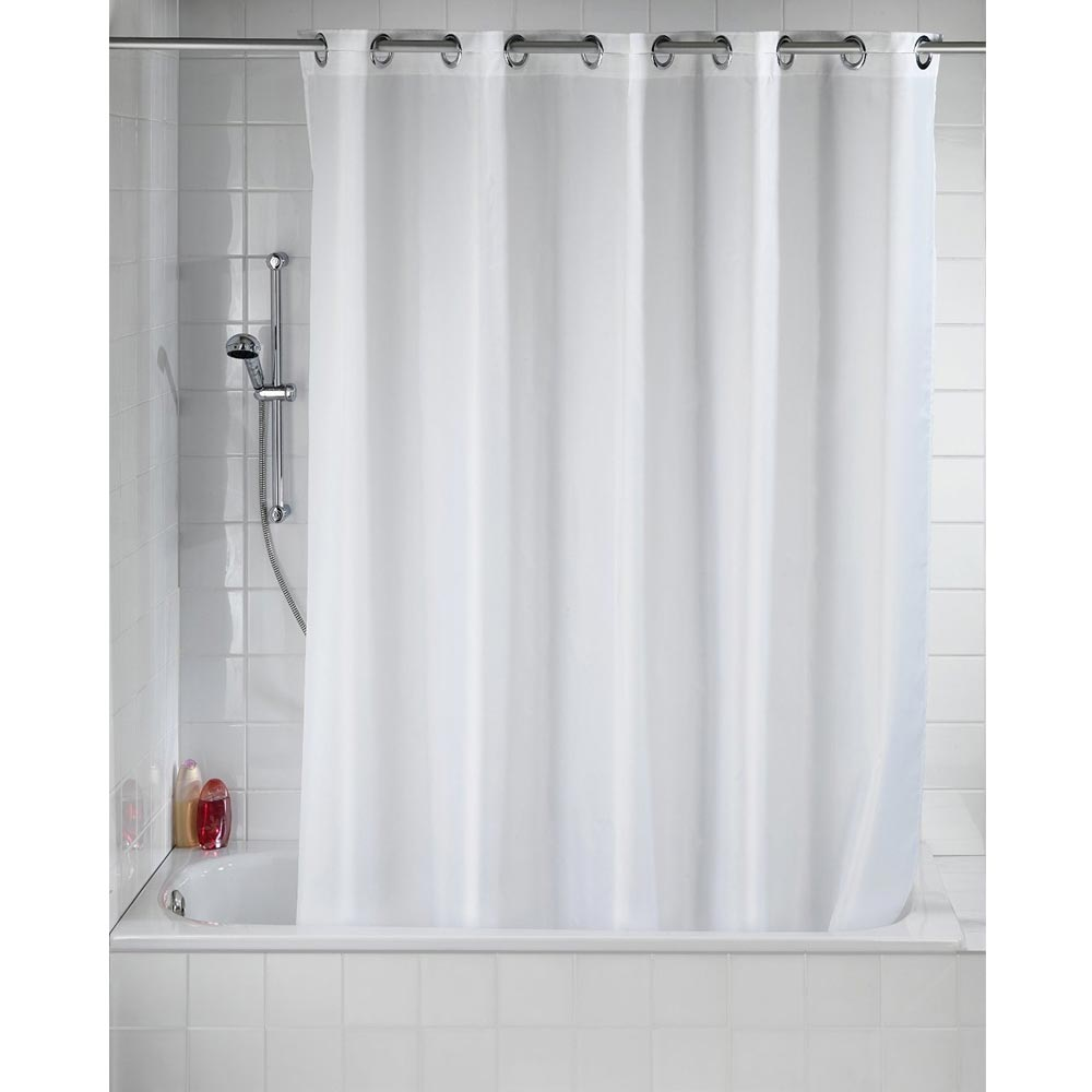 Wenko Comfort Flex White Polyester Shower Curtain - W1800 x H2000mm Profile Large Image