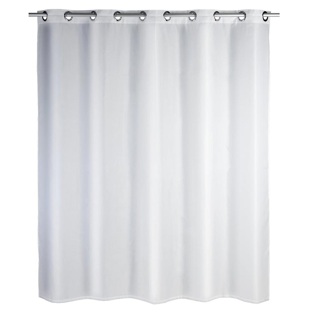 Wenko Comfort Flex White Polyester Shower Curtain - W1800 x H2000mm Large Image