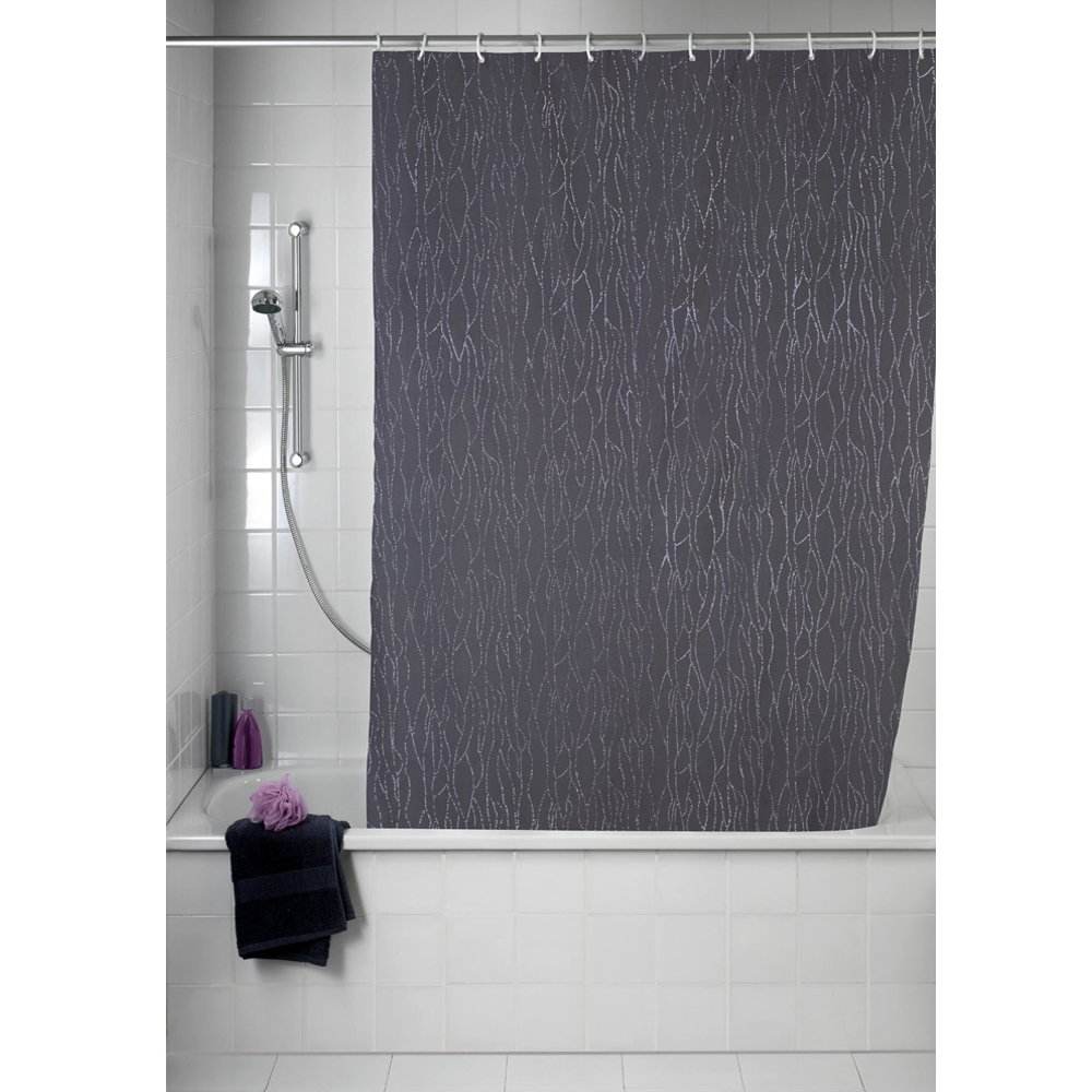 Wenko Deluxe Grey Polyester Shower Curtain - W 1800 x H2000mm profile large image view 3
