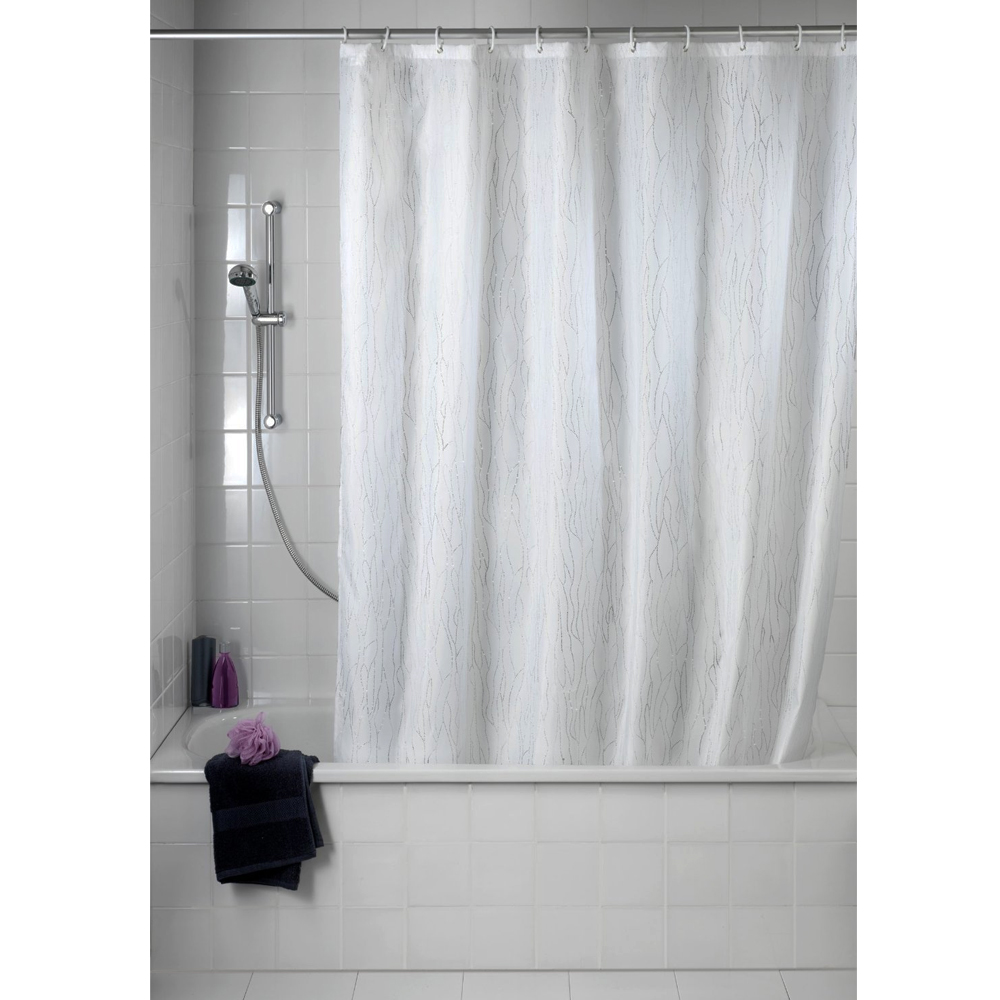 Wenko Deluxe White Polyester Shower Curtain - W 1800 x H2000mm Feature Large Image