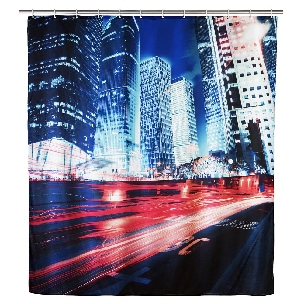 Wenko Downtown Polyester Shower Curtain - W1800 x H2000mm - 22189100 Large Image