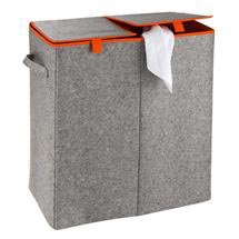 Wenko - Duo Felt Laundry Basket - Grey/Orange - 3440402100 Medium Image