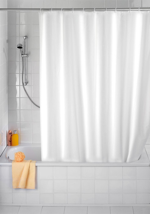 Wenko - Plain White Anti-Mold Polyester Shower Curtain - W1800 x H2000mm - 20151100 Large Image