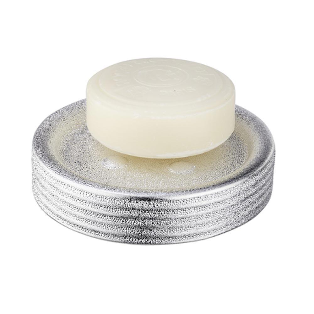 Wenko Polaris Juwel Ceramic Silver Soap Dish - 21994100 Profile Large Image