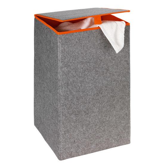 Wenko - Uno Felt Square Laundry Basket - Grey/Orange - 3440401100 Large Image
