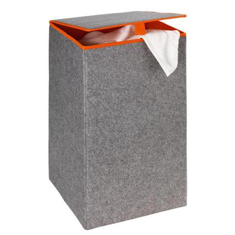 Wenko - Uno Felt Square Laundry Basket - Grey/Orange - 3440401100