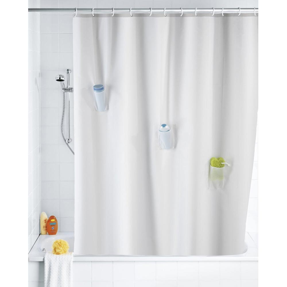 Wenko Villa Anti-Mold Shower Curtain with 3 Pockets - W1800 x H2000mm Profile Large Image