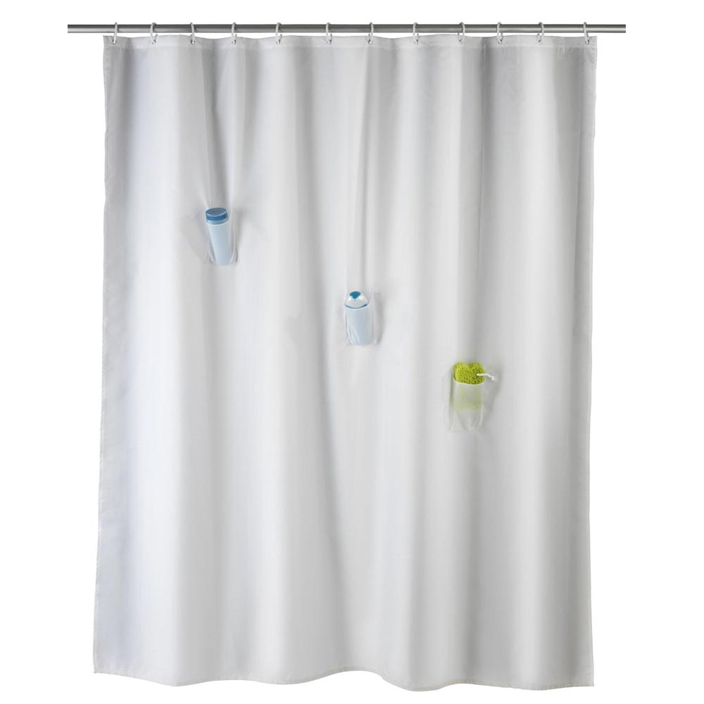 Wenko Villa Anti-Mold Shower Curtain with 3 Pockets - W1800 x H2000mm Large Image