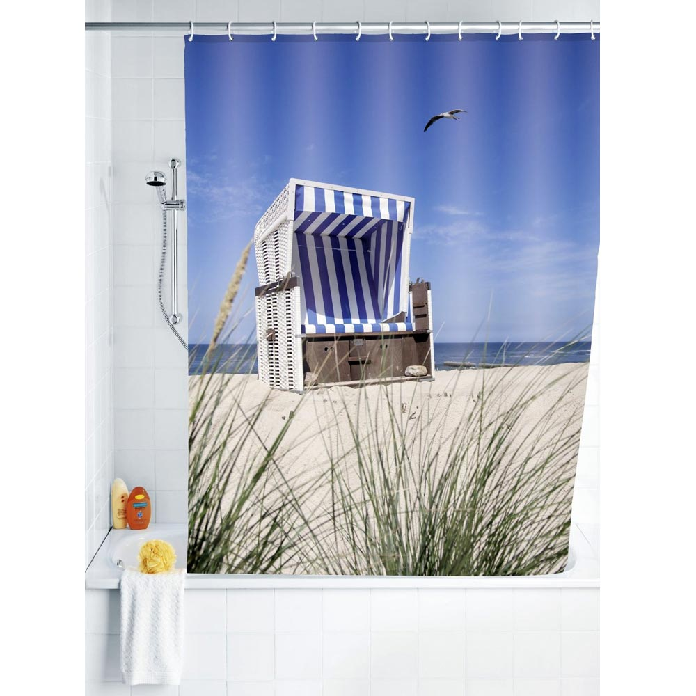 Wenko Wicker Beach Chair Polyester Shower Curtain - W1800 x H2000mm Large Image