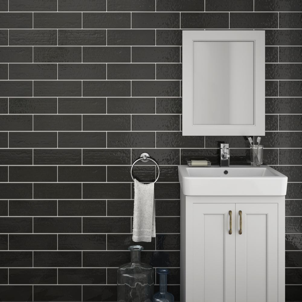 Westbury Rustic Metro Wall Tiles - Black - 30 x 10cm Large Image