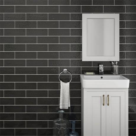 Westbury Rustic Metro Wall Tiles - Black - 30 x 10cm