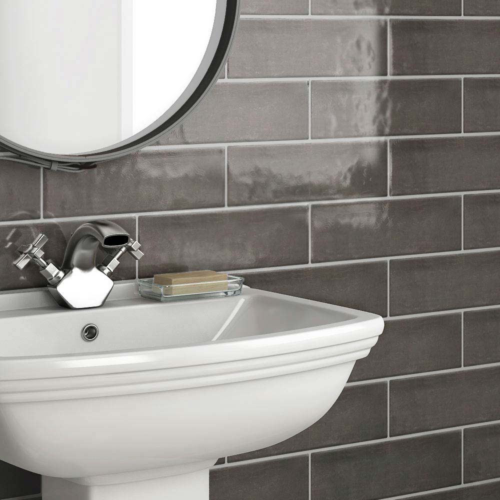 Westbury Rustic Metro Wall Tiles - Graphite - 30 x 10cm  Feature Large Image