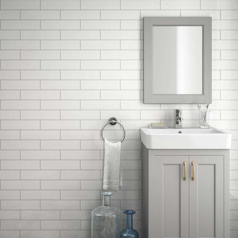 Westbury Rustic Metro Wall Tiles - White - 30 x 10cm Large Image